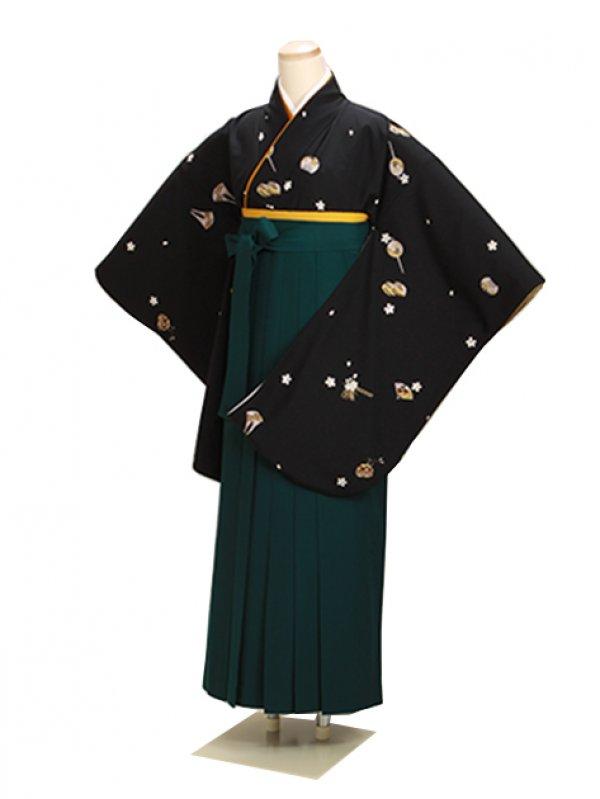 ジュニア袴 卒業式 黒 0254 緑袴【身長155cm位】