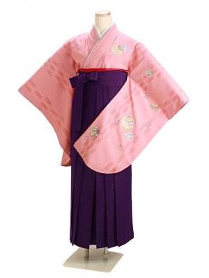 ジュニア袴 卒業式 ピンク 0267 紫袴【身長155cm位】