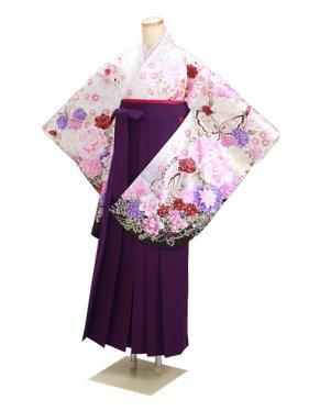 ジュニア袴 卒業式 白ラメ 0303【身長155cm位】