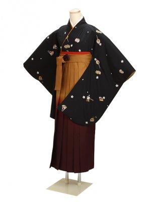 ジュニア袴 卒業式 黒 0254 柄袴【身長150cm位】