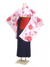 ジュニア袴 卒業式 白 桜 0297【身長155cm位】