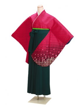 ジュニア袴 卒業式 赤 0244【身長155cm位】