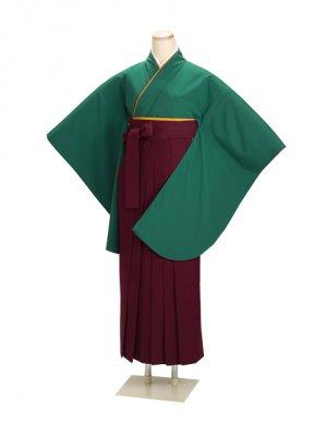 ジュニア袴 卒業式 グリーン 0228 エンジ袴【身長145cm位】