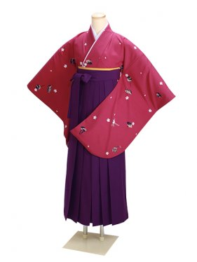 ジュニア袴 卒業式 赤 0252【身長150cm位】