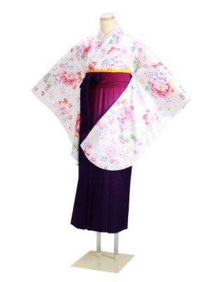 ジュニア袴 卒業式 白 0293 柄袴【身長155cm位】