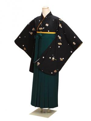 ジュニア袴 卒業式 黒 0253 緑袴【身長160cm位】