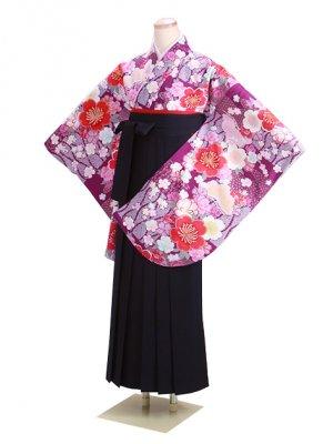 ジュニア袴 卒業式 紫 桜 0296 紺袴【身長160cm位】