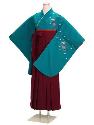 ジュニア袴 卒業式 グリーン 0221 エンジ袴【身長145cm位】