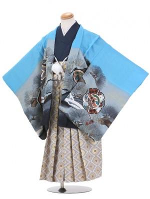 七五三(5歳男児袴)B039/水色/鷹・松