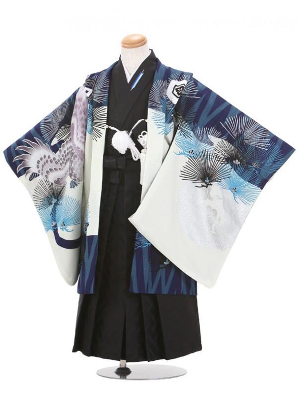 七五三(5歳男児袴)B047/青・白/ジャパンスタイル・鷹・松