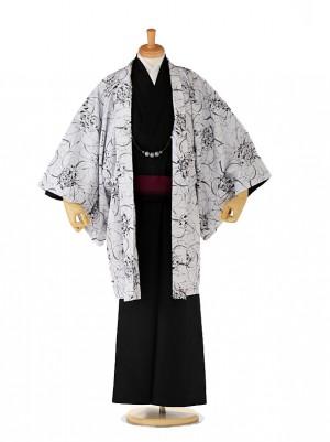 羽織着物 HANAE MORI 白×黒 6号