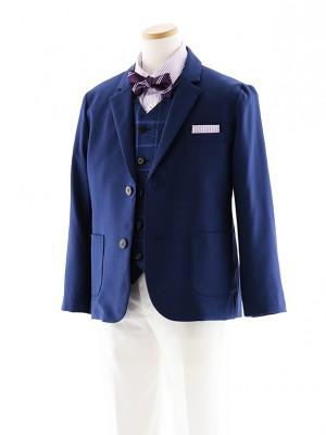 [男児スーツ]長ズボン E.ZEGNA ブルー×白 細身 1019 140cm~