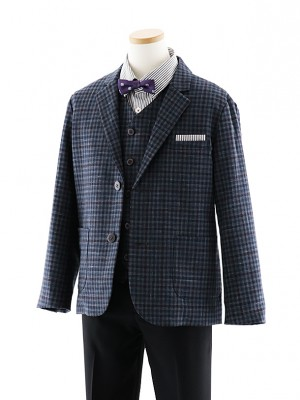 [男児スーツ]長ズボン E.ZEGNA グレー×黒 細身 1020 140cm~