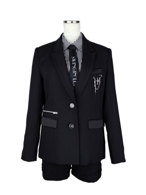 [女児スーツ]ショートパンツ/モノトーンジップ飾り/HS20