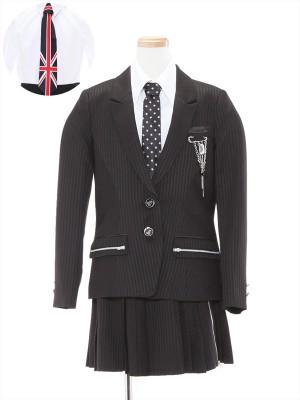 [女児スーツ]ネクタイ2種類/モノトーンストライプ/HS24
