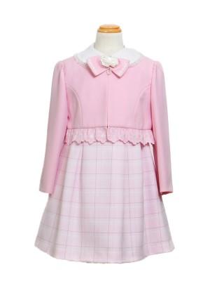 [女児スーツ]白襟ボレロ/ピンク系ワンピース/HS12