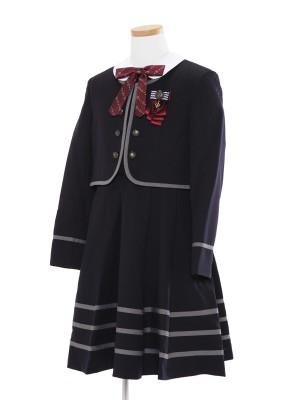 [女児スーツ]紺/ライン使い白襟アンサンブル/HS28