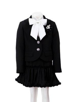 [女児スーツ]黒/リバーシブルフリルスカートHS04