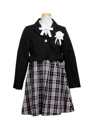 [女児スーツ]黒/チェック柄ブラウスワンピースHS15
