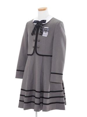 [女児スーツ]グレー/ライン使い白襟アンサンブル/HS27