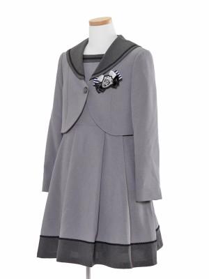[女児スーツ]グレー/セーラーワンピアンサンブル/HS25
