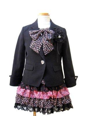 [女児スーツ]黒/花柄シフォンワンピースHS03