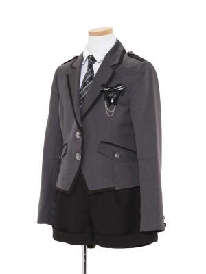 [女児スーツ]グレー×黒/パンツスタイルスーツ/HS29