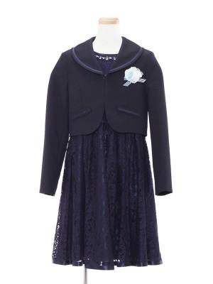 [女児スーツ]セーラー襟ボレロ+総レースワンピ/HS23