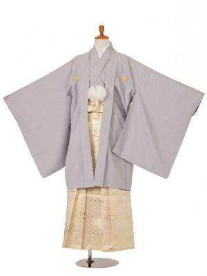 小学生卒業式袴男児523-5403綸子薄グレー/529-2282白地金菱