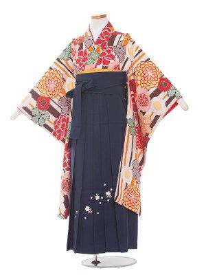 小学生卒業袴レンタル(女の子)164 茶×オレンジ花/紺色袴