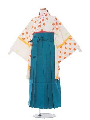 小学生卒業袴レンタル(女の子)113白地×オレンジ水玉