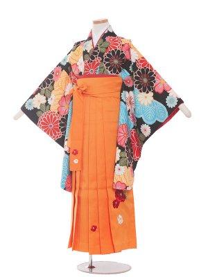 小学生卒業袴レンタル(女の子)195 黒×花々/オレンジ袴