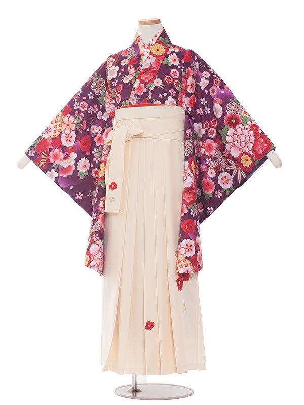 小学生卒業袴レンタル(女の子)127むらさき×花満開