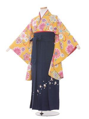 小学生卒業袴レンタル(女の子)169 黄色地 花々/紺色袴
