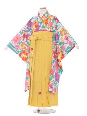 小学生卒業袴レンタル(女の子)157 緑 矢がすり花/黄色袴