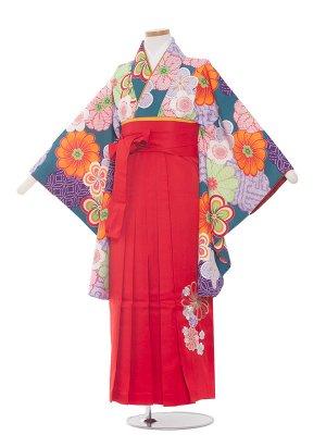 小学生卒業袴レンタル(女の子)171 緑×しぼり調の花/赤袴