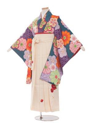 小学生卒業袴レンタル(女の子)194 緑×しぼり調花/白袴
