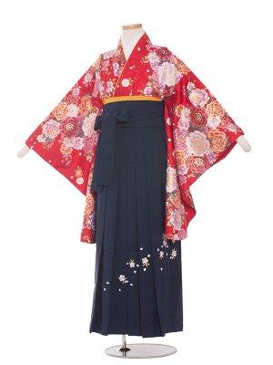小学生卒業袴レンタル(女の子)121赤地×牡丹花