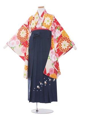 小学生卒業袴レンタル(女の子)149 赤地×矢がすり/菊と桜