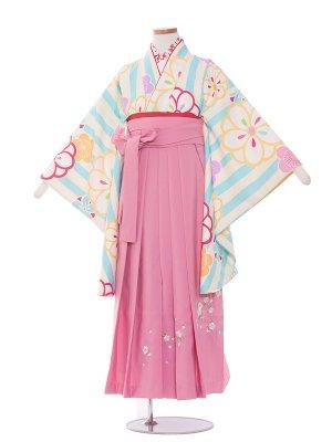 小学生卒業袴レンタル(女の子)106水色ストライプ
