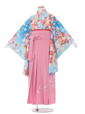 小学生卒業袴レンタル(女の子)128水色×花模様