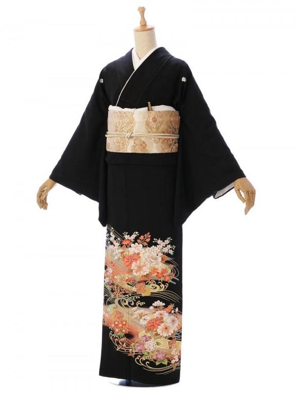 黒留袖レンタルMT014流水に四季の花