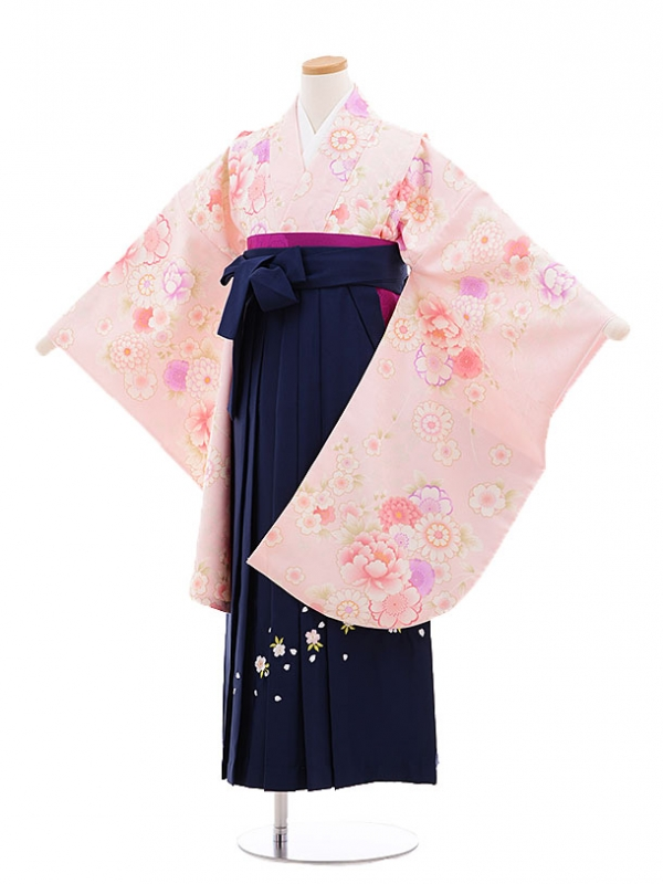 小学生女子袴 ピンク×紺