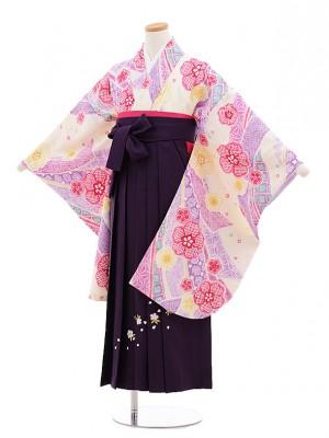 小学生女子袴 絞りベージュ×紫