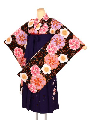 小学生女子袴 梅 黒×紫