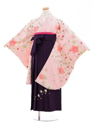 小学生女子袴 桜吹雪ピンク×紫