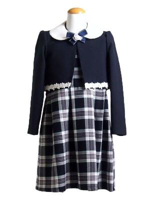 【女児ワンピーススーツ130cm】チェックワンピース
