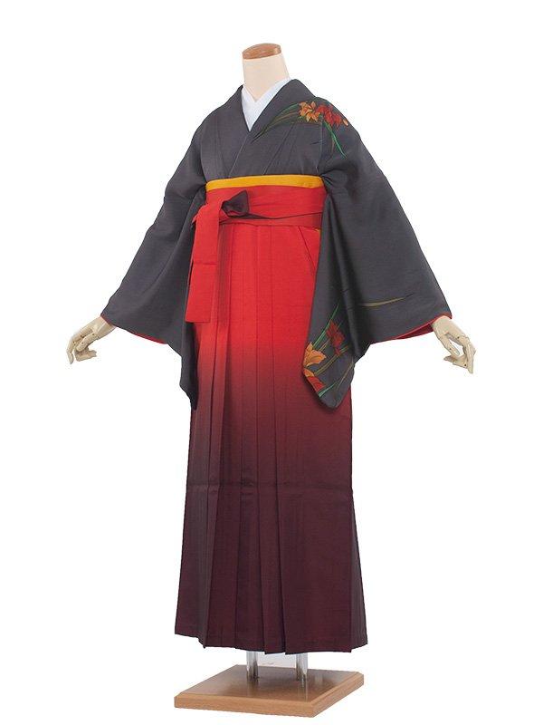 女袴(8136)グレー/朱赤袴95