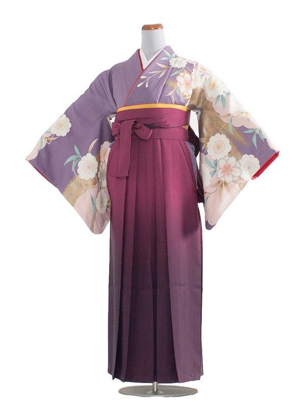 女袴(8178)藤色に桜/朱赤袴95
