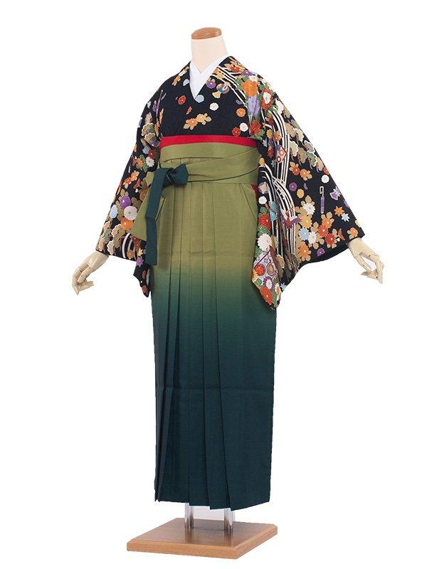 女袴(8184)黒地総柄/緑袴95